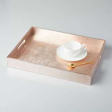 "Lacquer Wood Tray, 14""x18"", Blush - West Elm"