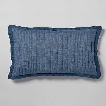 Belgian Flax Linen Linework King Sham, Indigo - West Elm