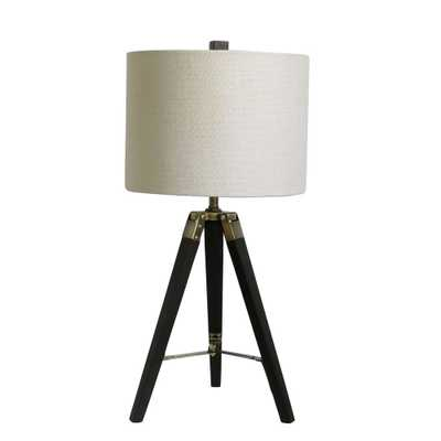 Fangio Lighting 28 in. Tripod Weathered Espresso Wood and Antique Brass Metal Table Lamp - Home Depot