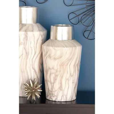 15 in. x 8 in. Ceramic White and Silver Vase, Gray - Home Depot