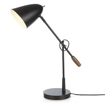 Morgan Black Metal Desk Lamp with USB Port - Crate and Barrel