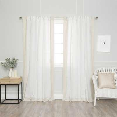 Aurora Home Colorblock Border Linen Blend Curtain Panel Pair - 52 x 84: White/Flax - eBay