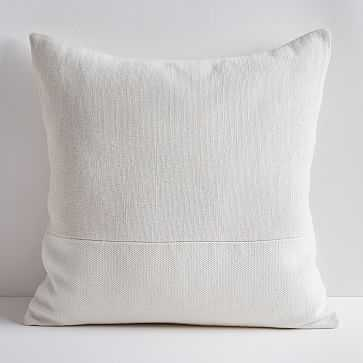 "Cotton Canvas Pillow Cover, 24"" sq, Stone White - West Elm"