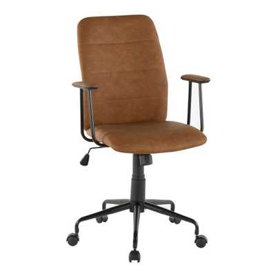 Lumisource Frederick Brown Faux Leather Office Chair - Home Depot