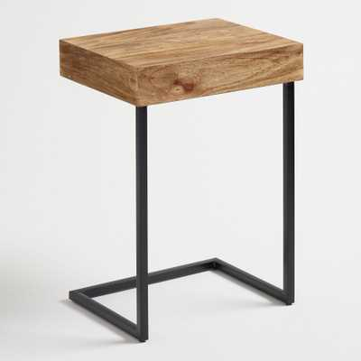 Wood Alec Laptop Table with Shelf: Brown - Metal  by World Market - World Market/Cost Plus