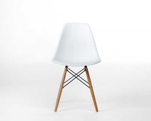 Dsw Molded Plastic Side Chair Wooden Dowel Base - White Wood Dowel - Rove Concepts