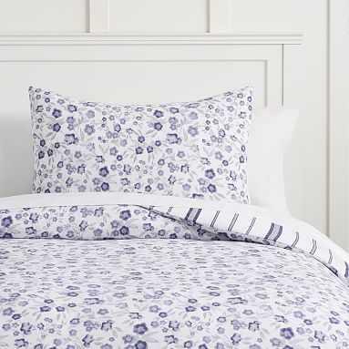 Hana Jersey Floral Duvet Cover, Full/Queen, Purple Floral - Pottery Barn Teen