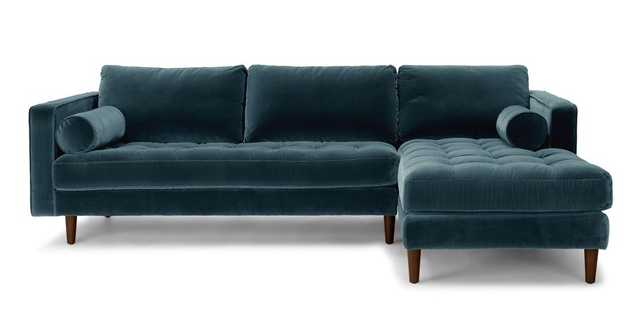 Sven Pacific Blue Right Sectional Sofa - Article
