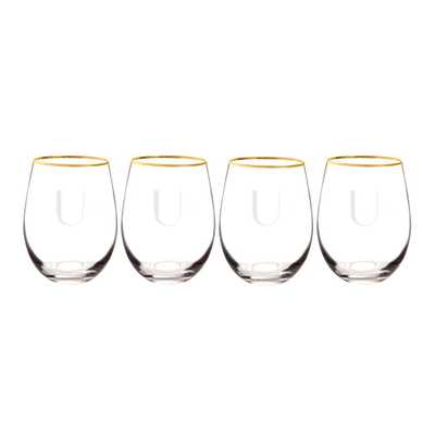Cathys Concepts Personalized Gold Rim Stemless Wine Glasses - U (Set of 4) - Home Depot