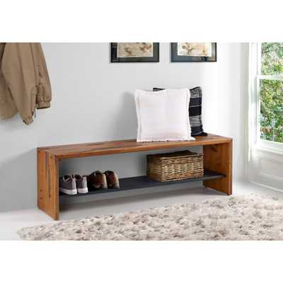 58 in. Amber Solid Reclaimed Wood Entry Bench - Home Depot