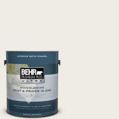 BEHR Premium Plus Ultra 1 gal. #pwn-52 Glamorous White Satin Enamel Interior Paint and Primer in One, Whites - Home Depot