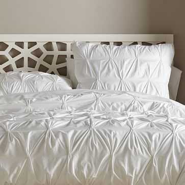 Organic Pintuck Duvet Cover, King, White - West Elm