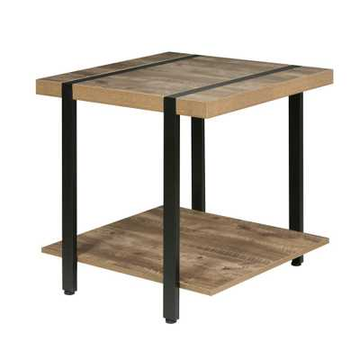 Bourbon Foundry End Table, Wood and Inset Black Steel, Brown - Home Depot