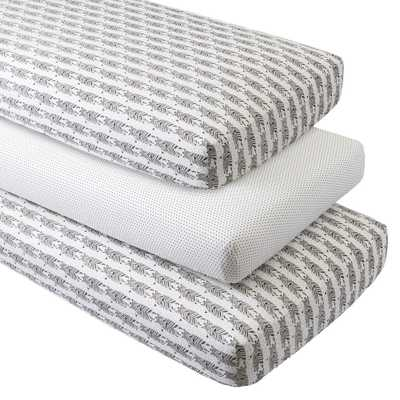 Organic Savanna Crib Fitted Sheets, Set of 3 - Crate and Barrel
