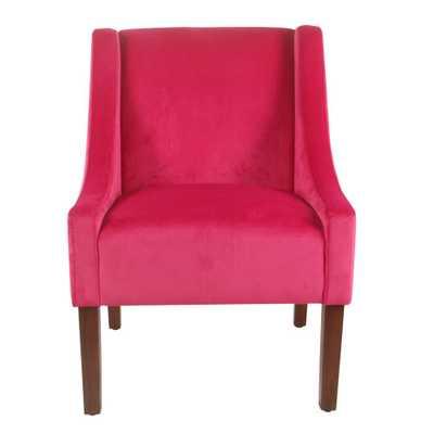 Homepop Pink Velvet Modern Velvet Swoop Arm Accent Chair - Home Depot