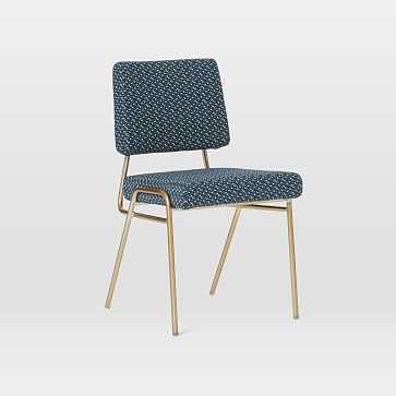 Wire Frame Dining Chair, Morse Dot, Indigo, Light Bronze - West Elm