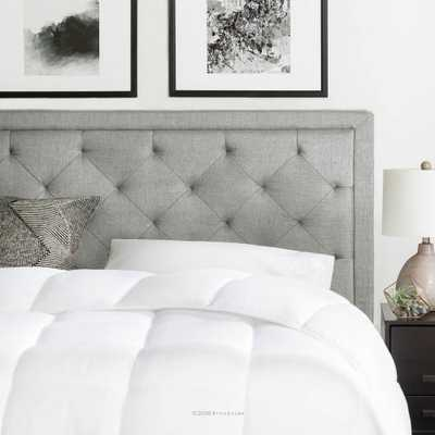 Upholstered Stone (Grey) Queen with Diamond Tufting Headboard - Home Depot