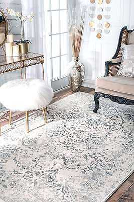 nuLOOM Distressed Floral Oriental Vintage Odell Area Rug in Gray and Ivory: Square 8' - eBay