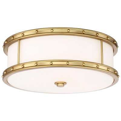 Minka Lavery 3-Light Liberty Gold Flushmount with Etched White Glass - Home Depot