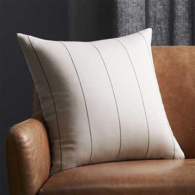 "20"" Pinstripe White Linen Pillow with Down-Alternative Insert - CB2"