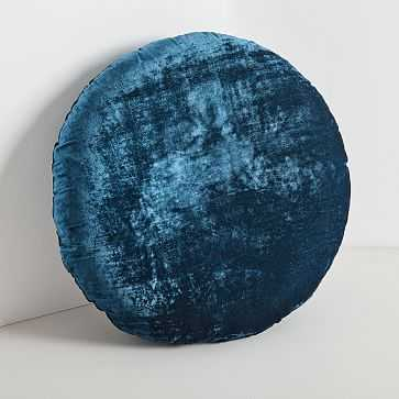 Round Lush Velvet Pillows, Regal Blue - West Elm