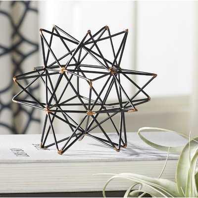 Wire Star Black/Gold Iron Sculpture - Birch Lane