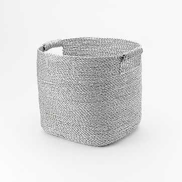 Metallic Woven Baskets, Storage Bin, Silver Plastic - West Elm