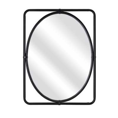 Black Rectangle Bar Frame with Oval Mirror - Home Depot