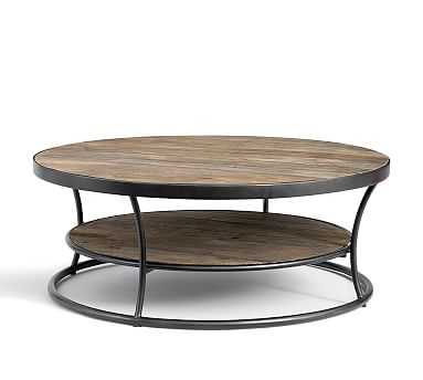 """Bartlett Round Metal & Reclaimed Wood Coffee Table, 42.5""""L - Pottery Barn"""
