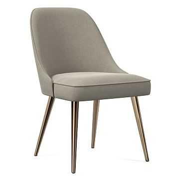 Mid-Century Dining Chair, Metal Leg, Performance Velvet, Stone, Oil Rubbed Bronze - West Elm