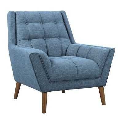 Armen Living Cobra Modern Chair, Blue Linen/Walnut - LCCO1BL - eBay