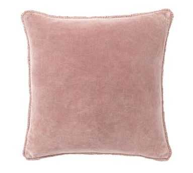 "Fringe Velvet Pillow Cover, 22"", Blush - Pottery Barn"