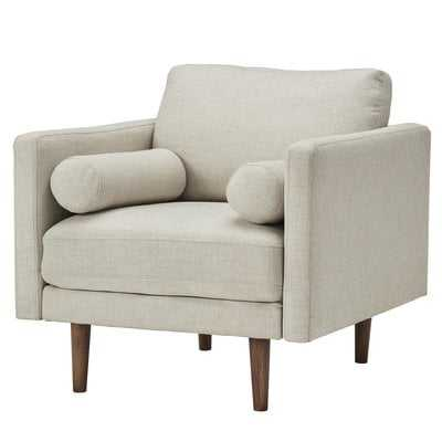 Desalvo Oatmeal Tweed Fabric Tapered Armchair - Wayfair