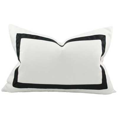 Solid White with Grosgrain Ribbon Border lumbar - 14x26 pillow cover / Black - Arianna Belle