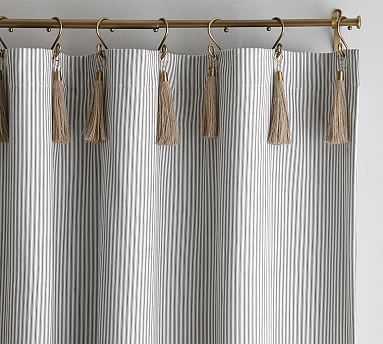 """The Emily & Meritt Ticking Stripe Drape With Hook And Tassel, 50x96"""", Black/White - Pottery Barn"""