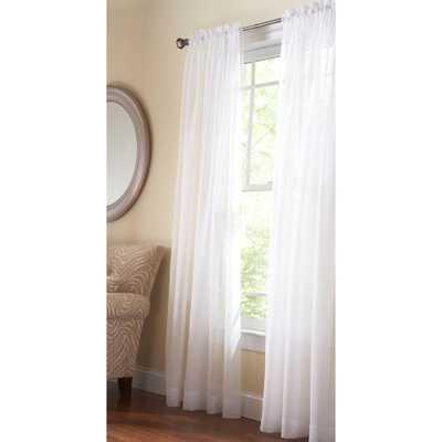 Martha Stewart Living Pure White Fine Sheer Rod Pocket Curtain - Home Depot