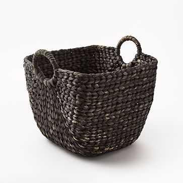 Large Curved Basket, Blackwashed - West Elm