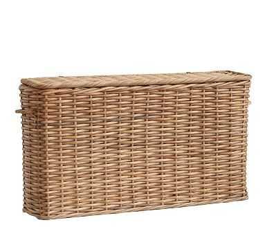 Aubrey Woven Oversized Narrow Rectangle Lidded Basket - Natural - Pottery Barn