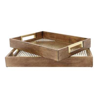 Kate and Laurel Hanneli Gold Decorative Tray (Set of 2) - Home Depot