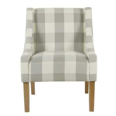 Homepop Gray Buffalo Plaid Modern Swoop Arm Accent Chair - Home Depot
