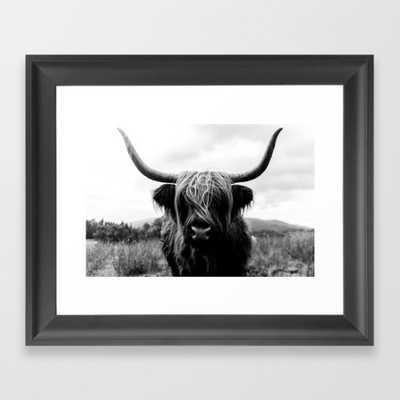 "Scottish Highland Cattle Black And White Animal Framed Art Print - Scoop Black Mini 10"" x 12"" by Regnumsaturni - Society6"