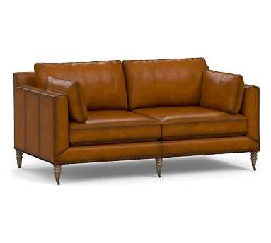 Tallulah Leather Loveseat, Down Blend Wrapped Cushions, Burnished Bourbon - Pottery Barn