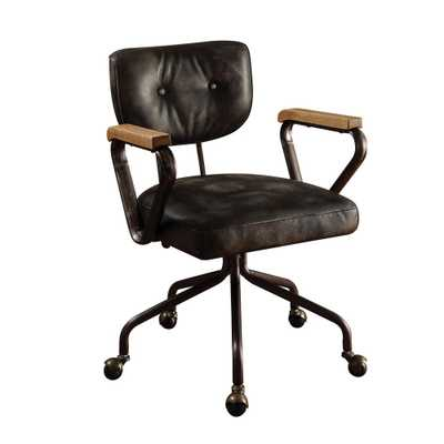 Hallie Vintage Black Top Grain Leather Office Chair - Home Depot