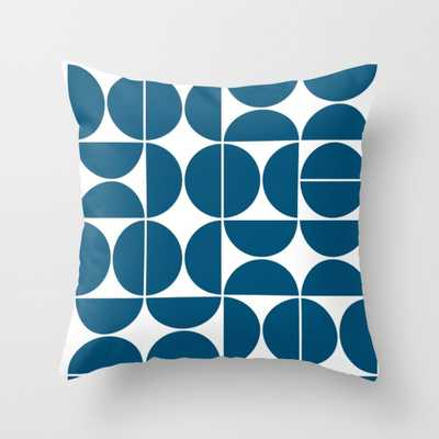 "Mid Century Modern Geometric 04 Blue Throw Pillow - Indoor Cover (16"" x 16"") with pillow insert by Theoldartstudio - Society6"