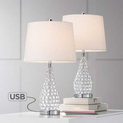 Sergio Chrome Accent Table Lamp with USB Port Set of 2 - Style # 39K62 - Lamps Plus