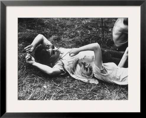 Young Couple Relaxing During Woodstock Music Festival - art.com