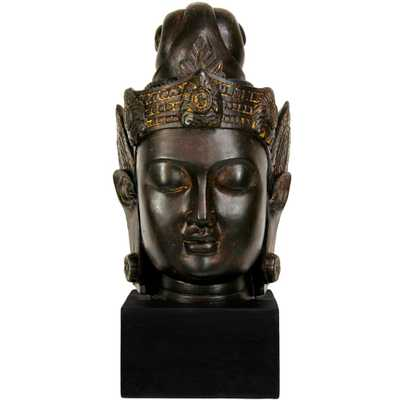 Oriental Unlimited Oriental Furniture 16 in. Cambodian Buddha Head Decorative Statue, Black - Home Depot