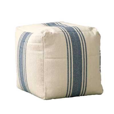 16 in. Blue Stripe Pouf, Beige/Ivory - Home Depot
