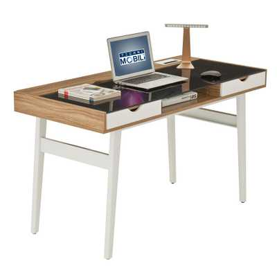 Walnut (Brown) Compact Computer Desk with Multiple Storage - Home Depot