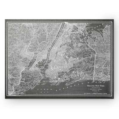 'NYC Sketch Map' Graphic Art Print on Wrapped Canvas in Gray - Wayfair